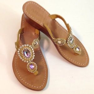 Mystique Jeweled wedge sandal sz 6